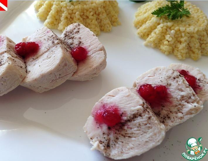 Рецепт: Пошированное филе курицы с золотым пшеном