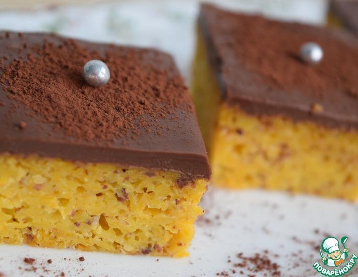 Рецепт: Тыквенный пирог с шоколадной глазурью