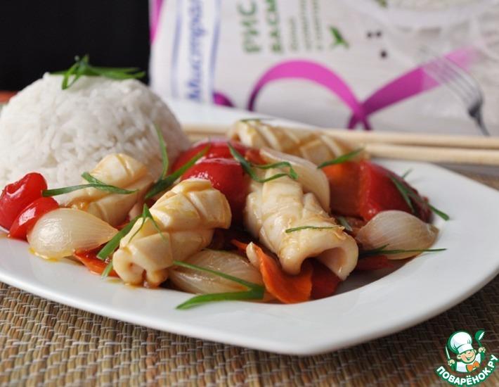 Рецепт: Кальмар с овощами по-китайски