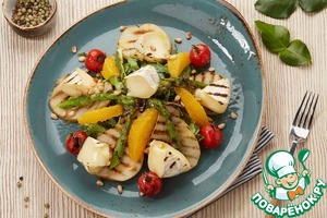 Рецепт: Салат с грушей гриль и орешками