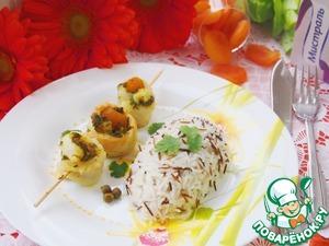 Рецепт Паровые рулетики из камбалы с зеленым соусом и курагой