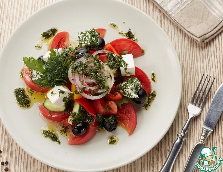 Рецепт: Греческий салат под оригинальной заправкой