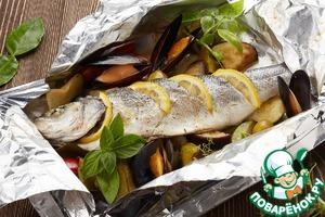 Рецепт: Сибас «карточчи» в фольге с овощами