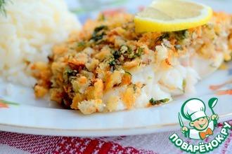 Рецепт: Рыба под хлебной корочкой с орехами