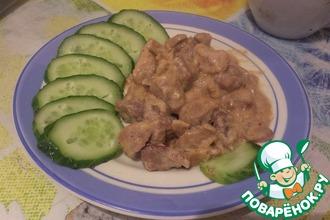 Рецепт: Свинина с овощами, тушенная в сливках