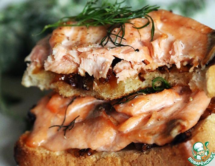 Рецепт: Горячие бутерброды с лососем