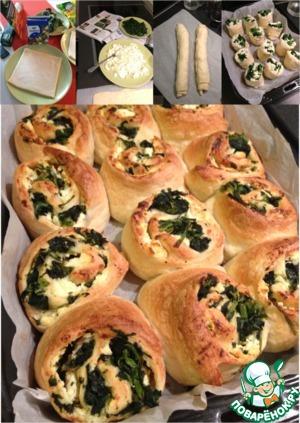 Рецепт Быстрый пирог из рулетиков со шпинатом и сыром
