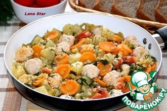 Рецепт: Овощное рагу с чечевицей и куриными фрикадельками