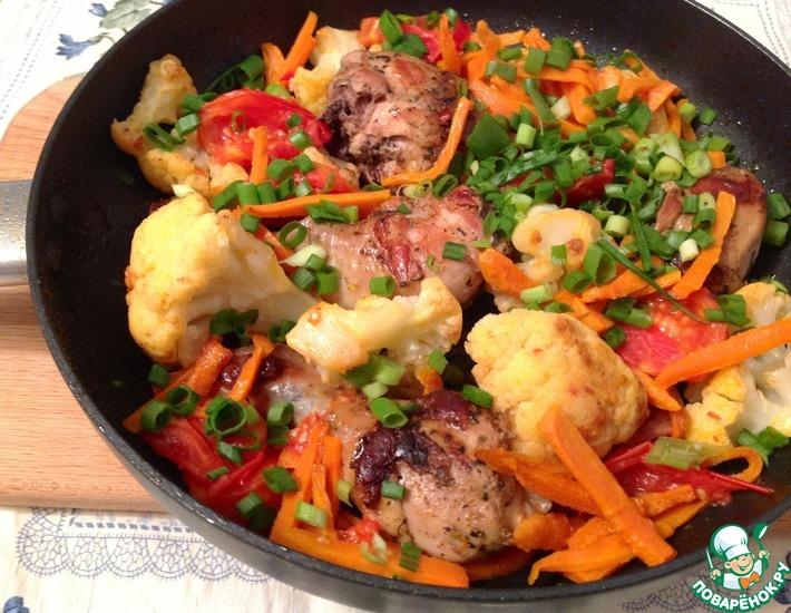 Рецепт: Маринованные куриные голени с цветной капустой и овощами