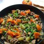 Свиное филе с шампиньонами и овощами