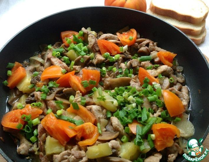 Рецепт: Свиное филе с шампиньонами и овощами