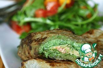 Рецепт: Спринг роллы или блинчики нэм с лососем и шпинатным муссом