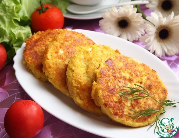 Рецепт: Картофельно-творожные оладьи