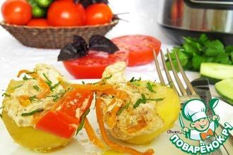 Рецепт: Картофель с овощами и курицей на пару