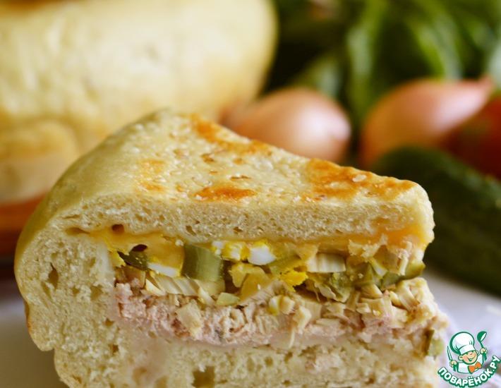 Рецепт: Деревенский хлеб с начинкой