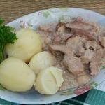 Свинина с грибами в сливках