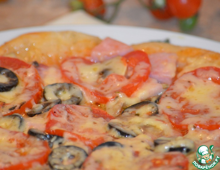Рецепт: Пицца с ветчиной и грибами в мультиварке