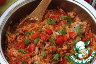 Рецепт: Итальянская сковорода с фаршем, овощами и рисом