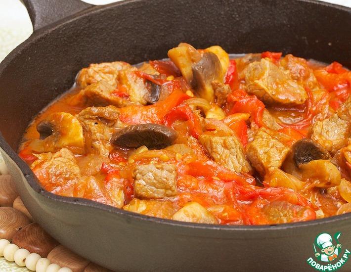 говядина с грибами на сковороде рецепт с фото