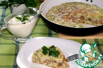 Рецепт: Капустный пирог с мясом и грибами на сковороде