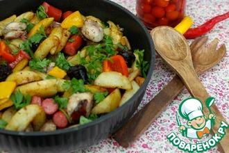 Рецепт: Картофельная сковорода с колбасками