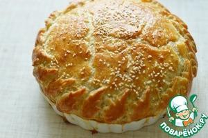 Слоеный пирог с мясом и баклажанами