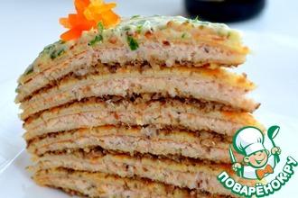 Рецепт: Блинный торт с куриным паштетом и грибами