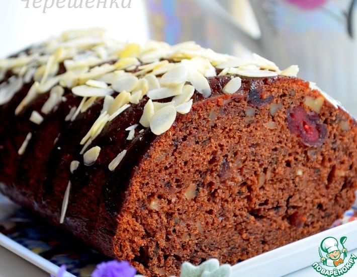 Рецепт: Шоколадный кекс с орехами и вишней
