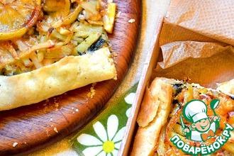 Рецепт: Крымский сырный пирог с кальмаром, мидиями и креветками