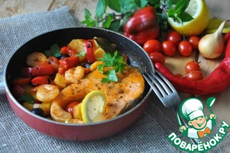 Рецепт: Рыбная солянка с печёным сладким перцем