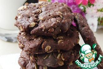 Рецепт: Шоколадное печенье с овсяными хлопьями