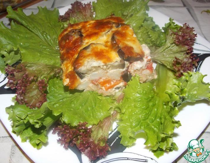 Рецепт: Запеканка из баклажан с цветной капустой