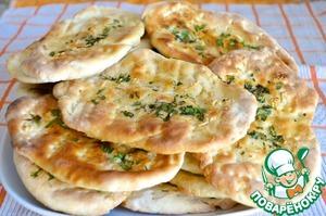 Рецепт Индийская лепешка наан с чесноком и зеленью