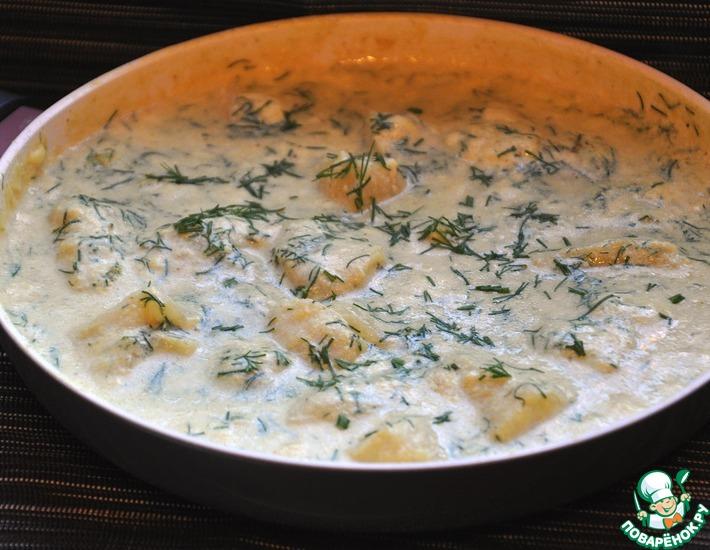 Рецепт: Пангасиус в сливках с укропом