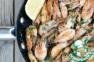 Рецепт: Креветки жареные в сковороде