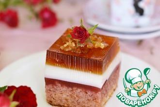 Рецепт: Пирожное Малиновая роза
