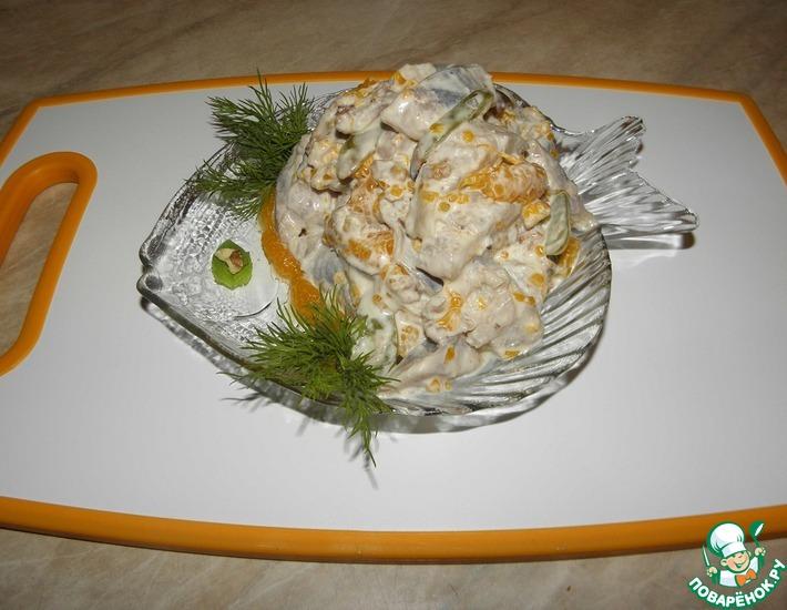 Рецепт: Салат из сельди с виноградом и мандаринами