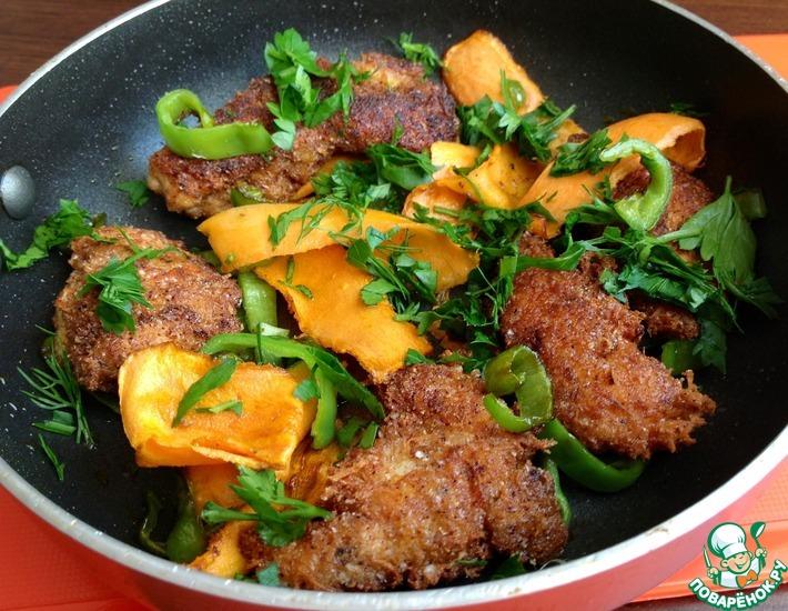 Рецепт: Куриные грудки в сырной панировке с овощами