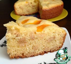 Рецепт Абрикосовый творожный пирог с печеньем