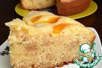 Рецепт: Абрикосовый творожный пирог с печеньем
