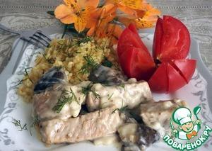 Braised pork with marinated mushrooms