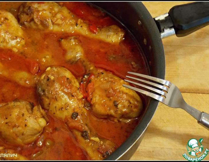 Рецепт: Тушеные куриные ножки с перцем