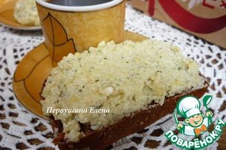 Рецепт: Бутерброд с намазкой из пшеных хлопьев и голубого сыра