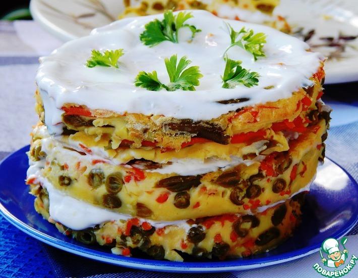 Рецепт: Закусочный торт с морковью и зеленой фасолью