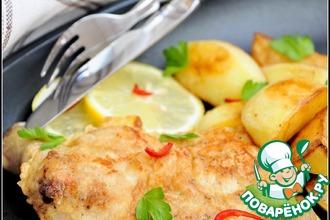 Рецепт: Отбивная из куриного окорочка с картофелем