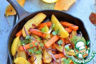 Рецепт: Жареный картофель с тыквой