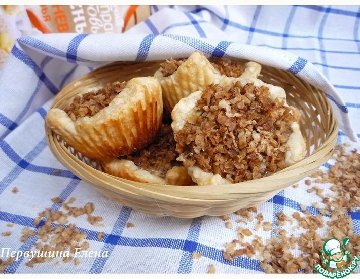 Рецепт: Слойки с печенью в омлетной заливке