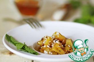 Рецепт: Ананас на гриле с соево-мятным сиропом