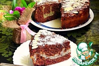 Рецепт: Шоколадно-вишневый пирог с творожно-маковой начинкой