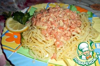 Рецепт: Спагетти с креветками в чесночном соусе